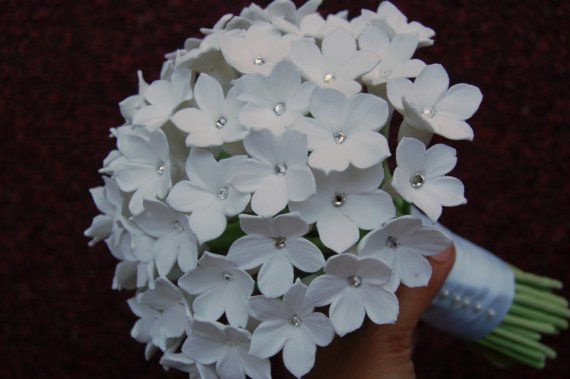 Beautiful Bouquet! White clay Stephanotis with crystal centers