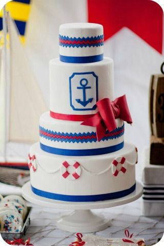 Nautical Themed Wedding Cake - Erica OBrien Cake Design - Don't know if I'd ever do it put I LOVE the anchor theme