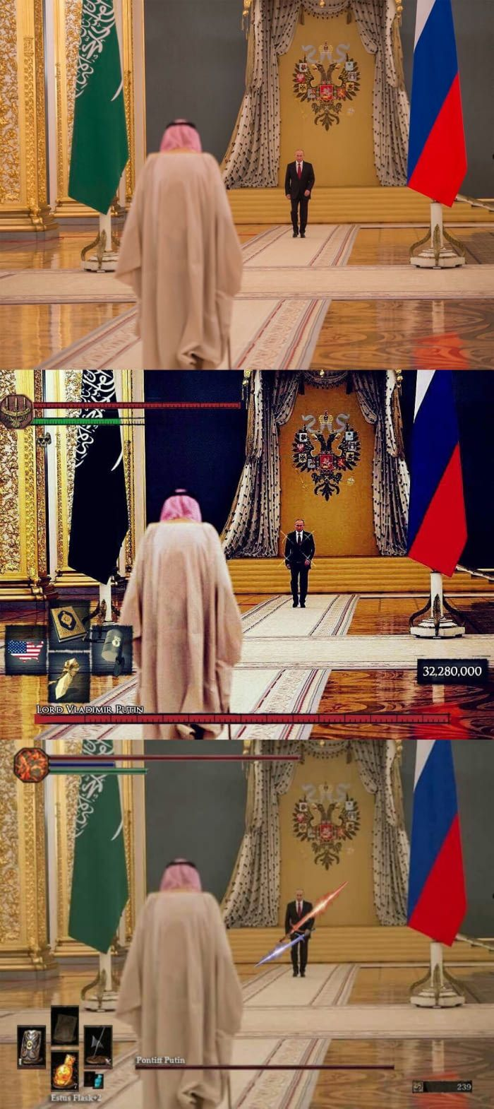 Saudi King meeting Putin photo looks like a Dark Souls boss battle