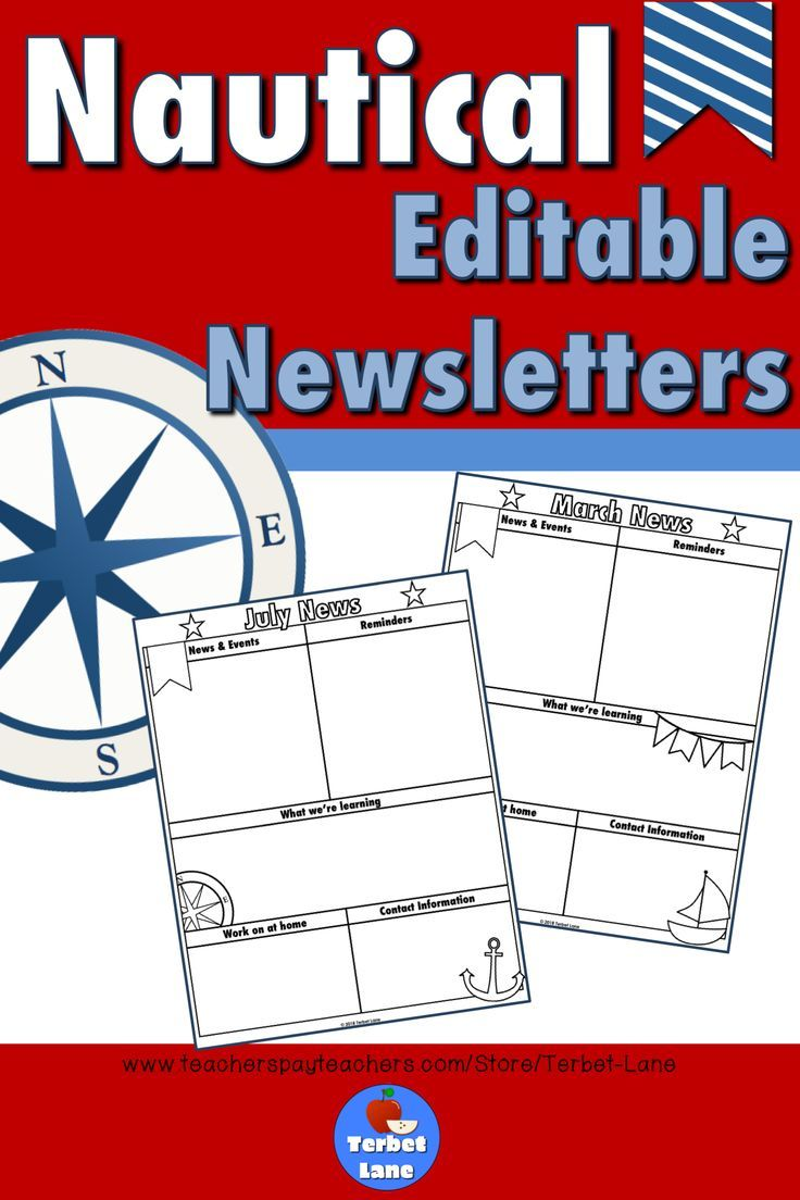editable nautical themed class monthly and weekly newsletter