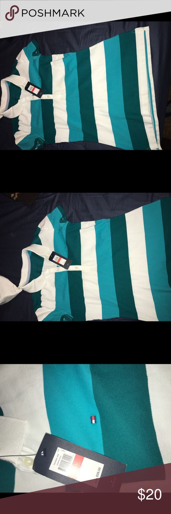 Kids small tommy shirt White blue and turquoise shirt Tommy Hilfiger Shirts & Tops Polos