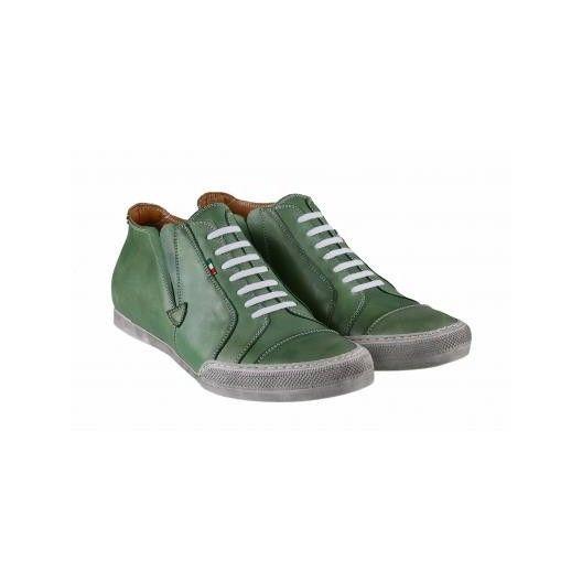 Pánske kožené športové topánky zelené PT124 - manozo.hu