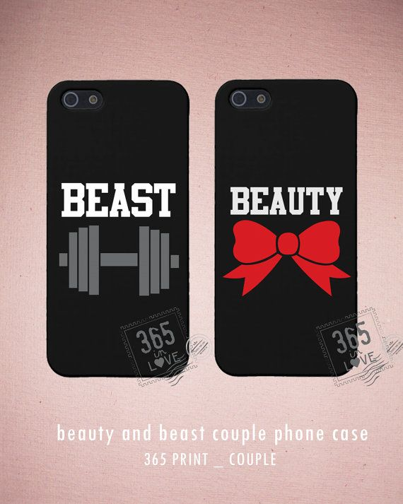 Couples iPhone Case Set - Matching iphone 4 4S 5 5C Galaxy S3 S4 Cases in Black with Beauty and Beast - Romantic Gift from 365inlove.com