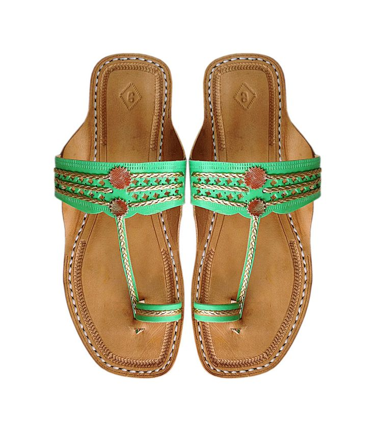 Handcrafted Green Leather Sandal for Women DLC-W-077 by kolhapurichappals on Etsy