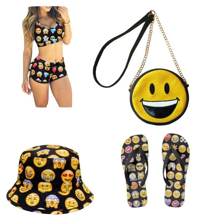 """emoji bathing suit"" by samaahkariym ❤ liked on Polyvore featuring OLIVIA MILLER"