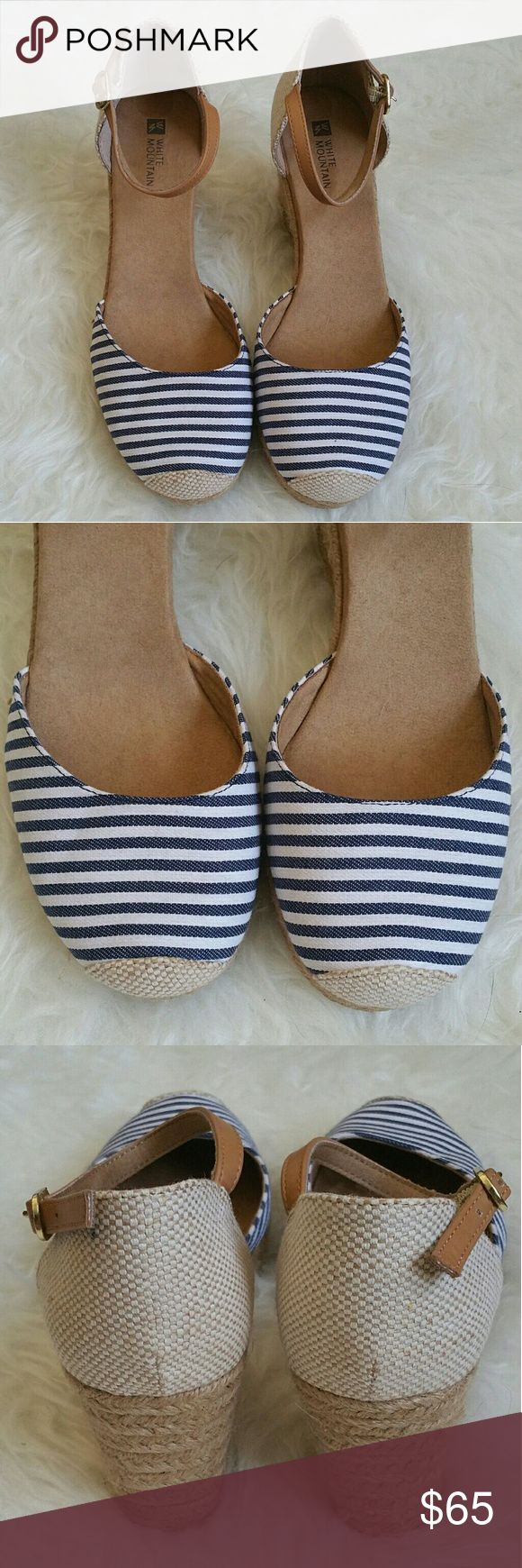 WHITE MOUNTAIN WEDGES Brand New espadrilles wedge. With navy and white stripes. Super comfortable and perfect for this up coming spring/summer season.   Heel height: 3 1/2 inches White Mountain Shoes Wedges
