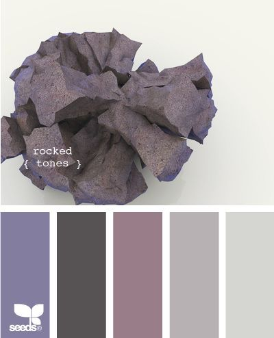 """""""Rocked"""" hues.  I definitely love this for   our next bedroom.  The soft purples are romantic, but the silver and slate   colors might help tone down the overt femininity, making it a more appealing   space for my husband.  Lots of lush fabrics like velvet and raw silk, plus my   black fur duvet cover would make this a soft and romantic getaway at the end of   the day."""