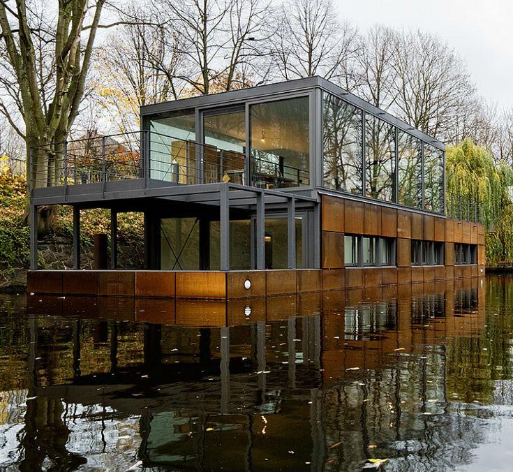 Eilbek Canal boat house by Sprenger Von Der Lippe