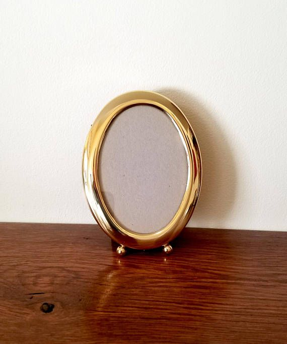 Antique doll house miniature small oval decorative metal frame