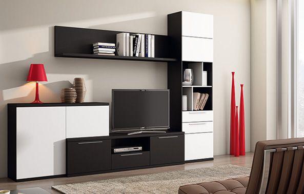 Composici n de sal n de estilo moderno modulares tv for Composicion salon moderno