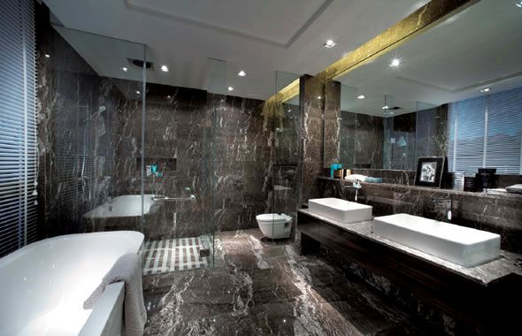 Super luxury bathroom decoration dark marble wall and for Bathroom interior design white