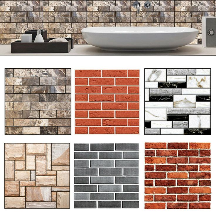 Details about 3D Brick Tile Sticker Self-adhesive Wall ...