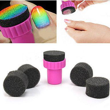 1PCS Manicure Sponge Nail Art Stamper Tools with 5PCS Sponge Nail for Gradient Color Nail Art – USD $ 1.99