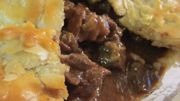 This savory pie is filled with an Irish stout gravy, loaded with steak, and baked between two flaky pie crusts.