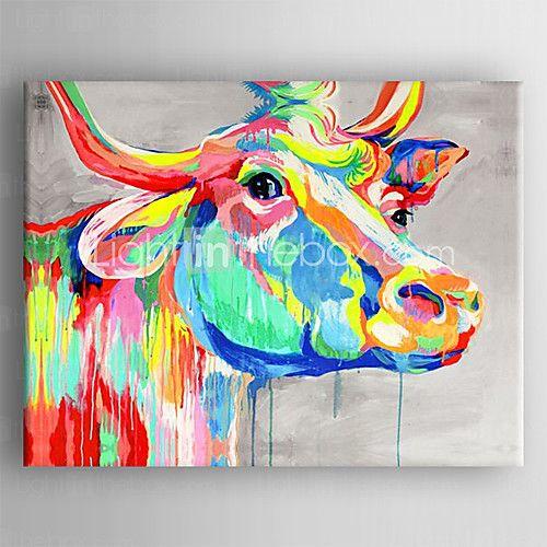 Peint La Main Animal Pop Horizontale Moderne Classique Un Panneau Peinture L 39 Huile Hang