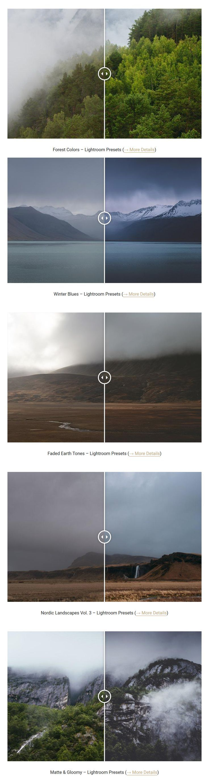 Lightroom before and after examples