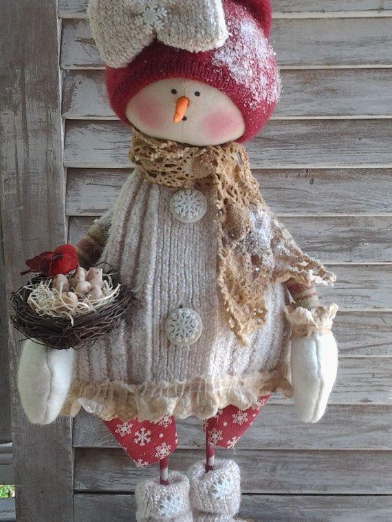 Primitive Pattern - Primitive Christmas Snow Girl Sara E-Pattern - Primitive Christmas Snow People Pattern - Primitive Snow Girl Pattern