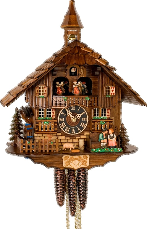 Hones Musical Chalet Kissing And Dancers Weight Driven Cuckoo Clock  Authentic German Cuckoo Clock   Made In The Black Forest 2 Year  Manufacturer Warranty ...