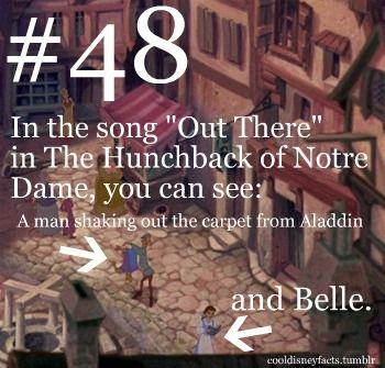 """In the song """"Out There"""" in The Hunchback of Notre Dame, you can see: A man shaking out the carpet from Aladdin and Belle."""