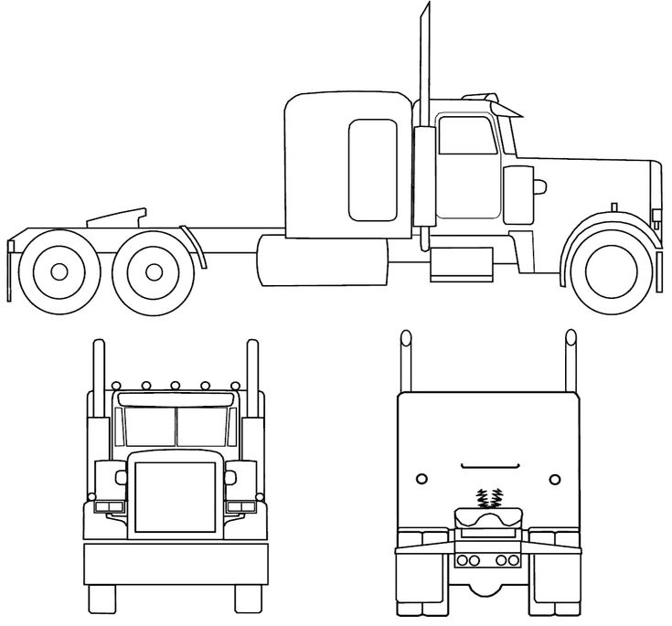 Peterbilt Semi Truck Coloring Page Drawing Sketch Coloring