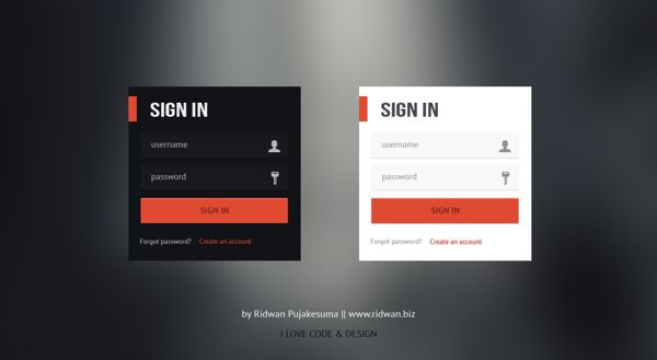 These ideas are what really inspired a lot of my ideas. I really like the simple login section and the colors. For my project I would be using the Orange and White login. The user icon and the key icon also add a nice look to the login area. The orange box beside the SIGN IN text works really well also and will be implementing them in my own project.