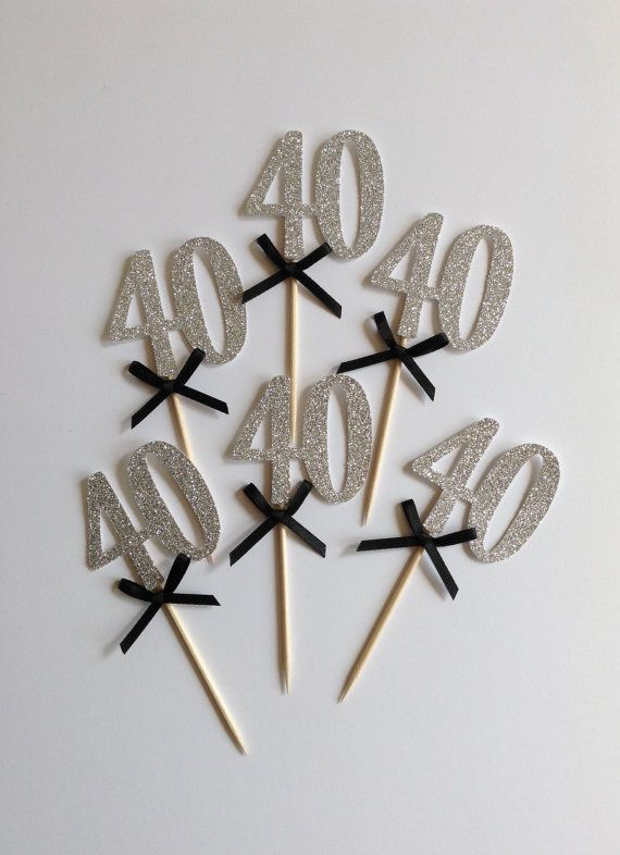 40th Cupcake Toppers Silver Glitter 40th Birthday by Cardoodle. Only in gold or rose gold.