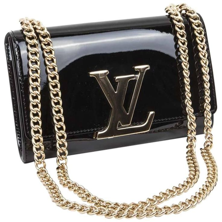 LOUIS VUITTON 'Louise' MM Bag in Black Patent Leather
