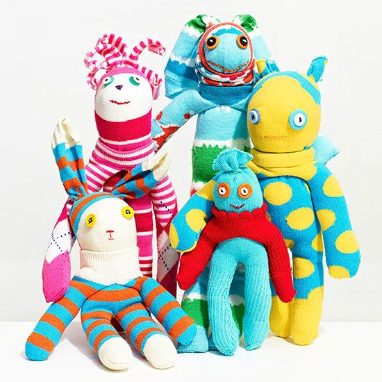 Use two kids' knee-high socks to create the cutest (and easiest!) plush toy ever from @FamilyFun magazine . (Great sewing project for kids and beginners!)