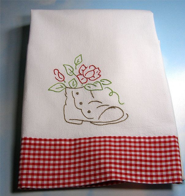 Hand embroidered flour sack towel | Flickr - Photo Sharing!