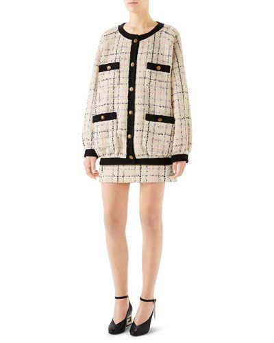 b7dce44d28 Gucci Oversized Tweed Bomber Jacket Crewneck Short-Sleeve Cotton T-Shirt  with Sequined Logo Romantic Tweed Mini Skirt
