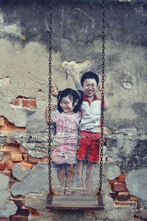 Arte de rua em uma rua de Georgetown, Penang Island, Malásia   – Kunst und so