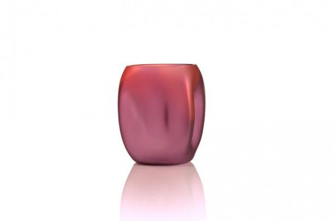 Mini Soft Box Amethyst Ruby Etched - Tsunami Glassworks