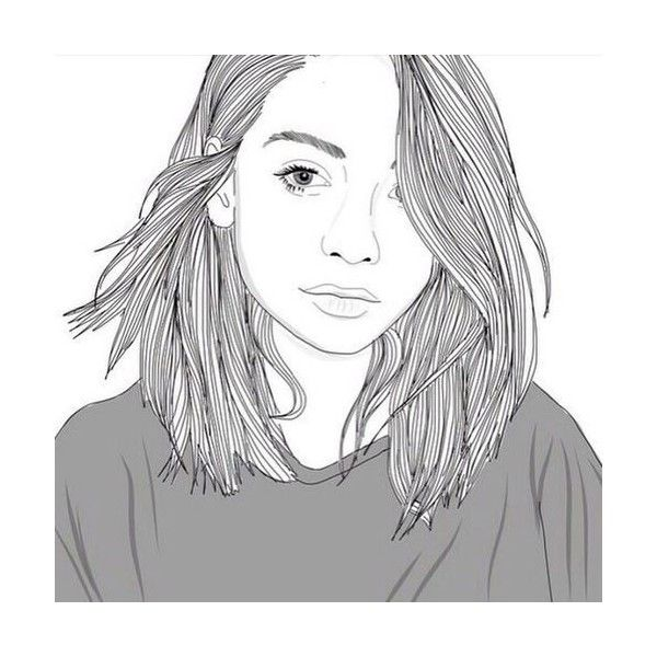 outline drawing of girl