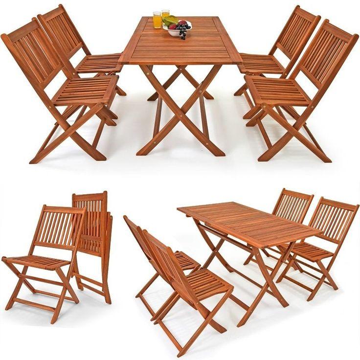 Outdoor 4+1 Sitzgruppe Essgruppe mit 4 klappbaren Stühlen klappbarer Tisch Neu