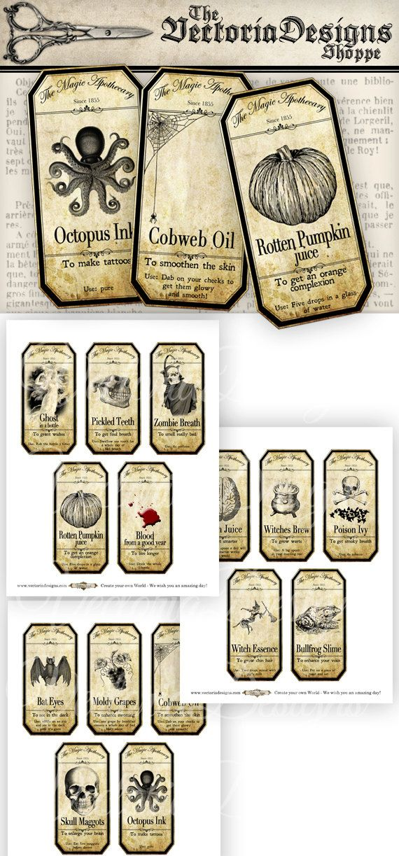 15 Large Halloween Apothecary Labels 4.5 x 2.23 inch Jar Labels Tags Halloween printable digital collage sheet VD0420