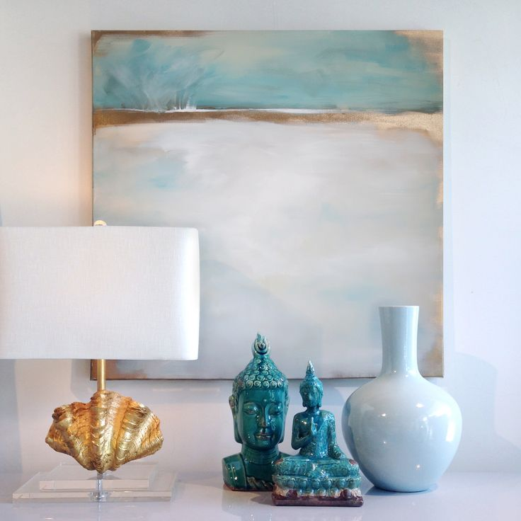 Daydream No. 1 original painting featured next to beautiful gold and teal accessories