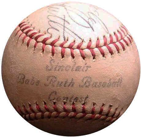 best babe ruth autographed baseball ideas babe   vintage 1937 sinclair oil babe ruth contest baseball featuring a secretarial signature of babe ruth this was a weekly essay contest promoted on sinclair