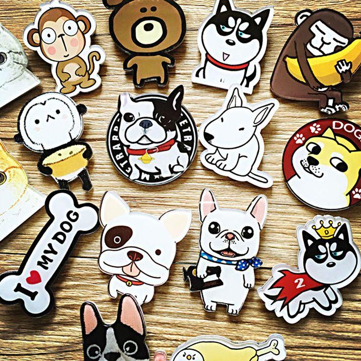 1 UNID Harajuku Estilo Animal de la Historieta de Acrílico Pin Insignia Para La Ropa y decoración Mochila parche roget Bufanda de Cuello de Solapa Pin broche