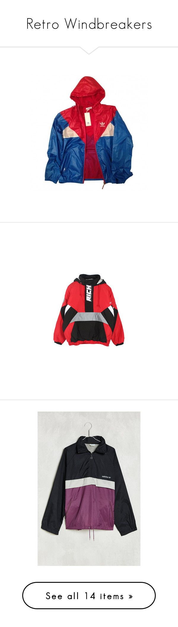 """Retro Windbreakers"" by bbgxmoore ❤ liked on Polyvore featuring outerwear, jackets, tops, coats, blue jackets, vintage jacket, drawstring jacket, adidas, adidas jacket and coats & jackets"