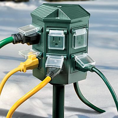 Weatherproof Outdoor Timer Power Strip That's what I need because I never remember the Christmas lights!