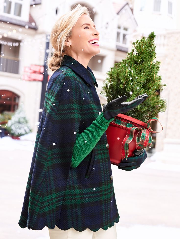 A classic style refreshed for today! The fold-over collar, timeless plaid pattern, and double-breasted styling nod to tradition while the scalloped hem is a playful modern twist. The Black Watch Plaid Scallop-Hem Cape is a sweet way to finish off any seasonal outfit. | Talbots