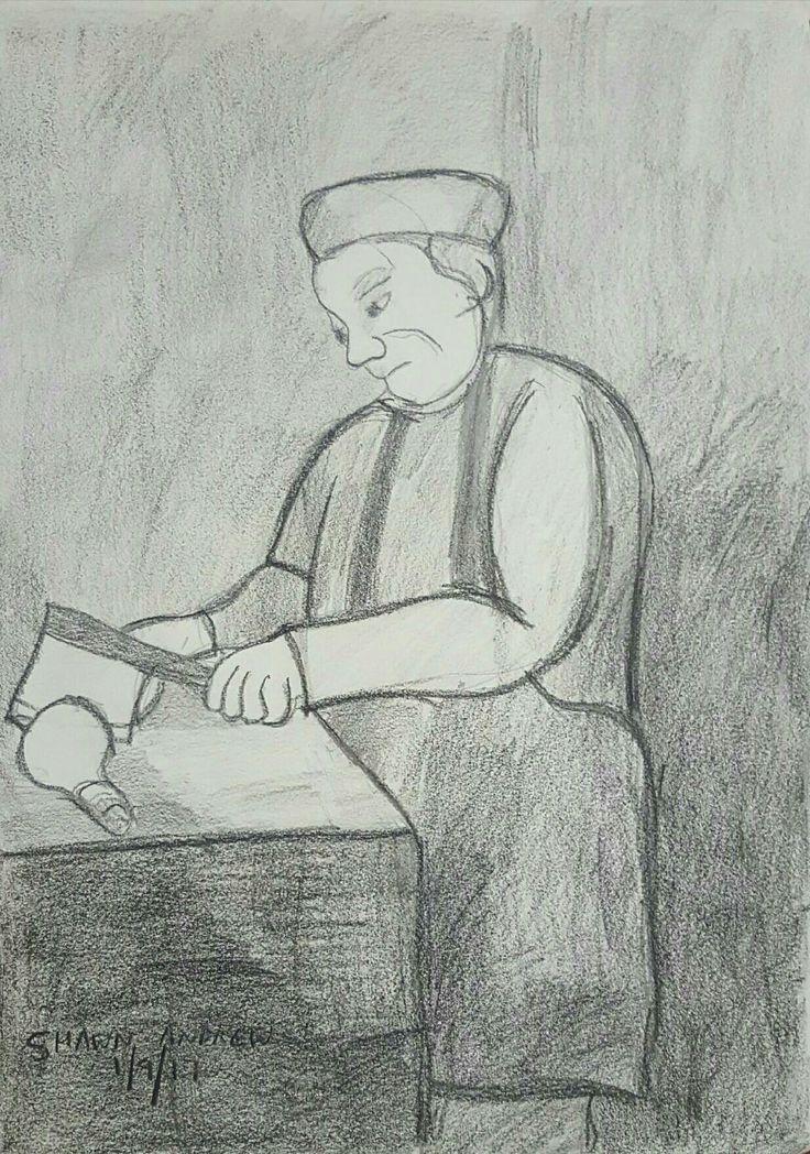 The butcher - Lyra, Lumocolor and lead pencil drawing on paper - 1/9/17 - #ShawnAndrewArtist  #Art  #Drawing  #TheButcher  #ShawnAndrew_Artist #Arte #Arto #Ars #Artă #Kuns #Kunst #Konst #Taide #Umění #Művészet