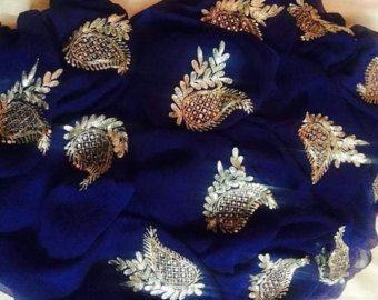 Pure Chiffon Saree with Gota Flowers by Threadsandblocks on Etsy