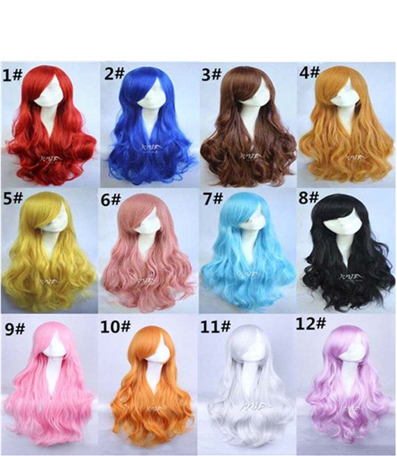 Long Wave Wig Cosplay Wigs Curly Wigs for Women 29 inches Harajuku anime Long Costume Wigs with Side Bangs Christmas KARNEVAL... Whoops so maybe I just totally impulse-bought the light blue one for my future Navi cosplay.... Someone has to do Link now!