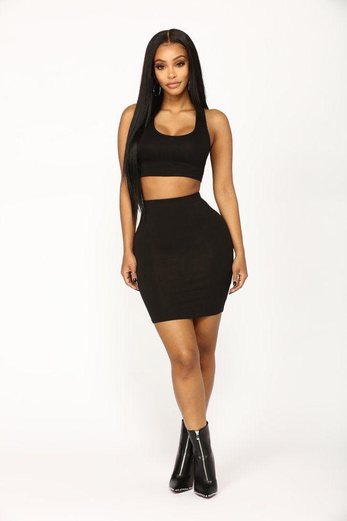 Heart Sigh Skirt Set - Black
