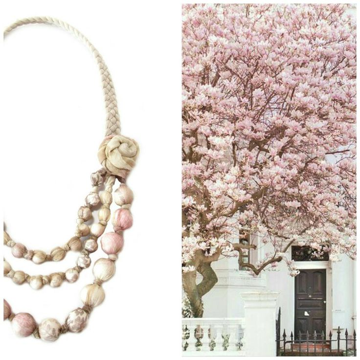 @gicreazioni Floral beaded necklace http://etsy.me/2xrGjWM #beige #pink #floral #recycleyourtshirt #handmade #etsy #moodboard #collage #fashion #shopping #style #accessories #jewelry #etsy #necklace