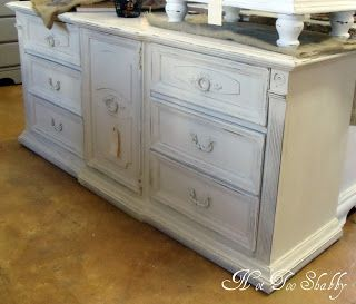 Long Dresser Painted Annie Sloan Chalk Paint Old White