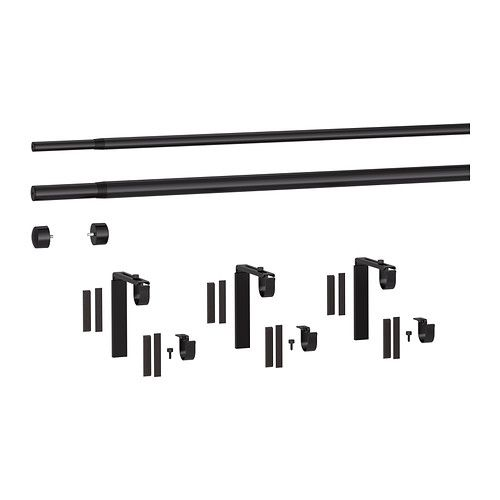RÄCKA/HUGAD Double curtain rod set IKEA You can combine two layers of curtains, one thick and one thin, using the double rod.
