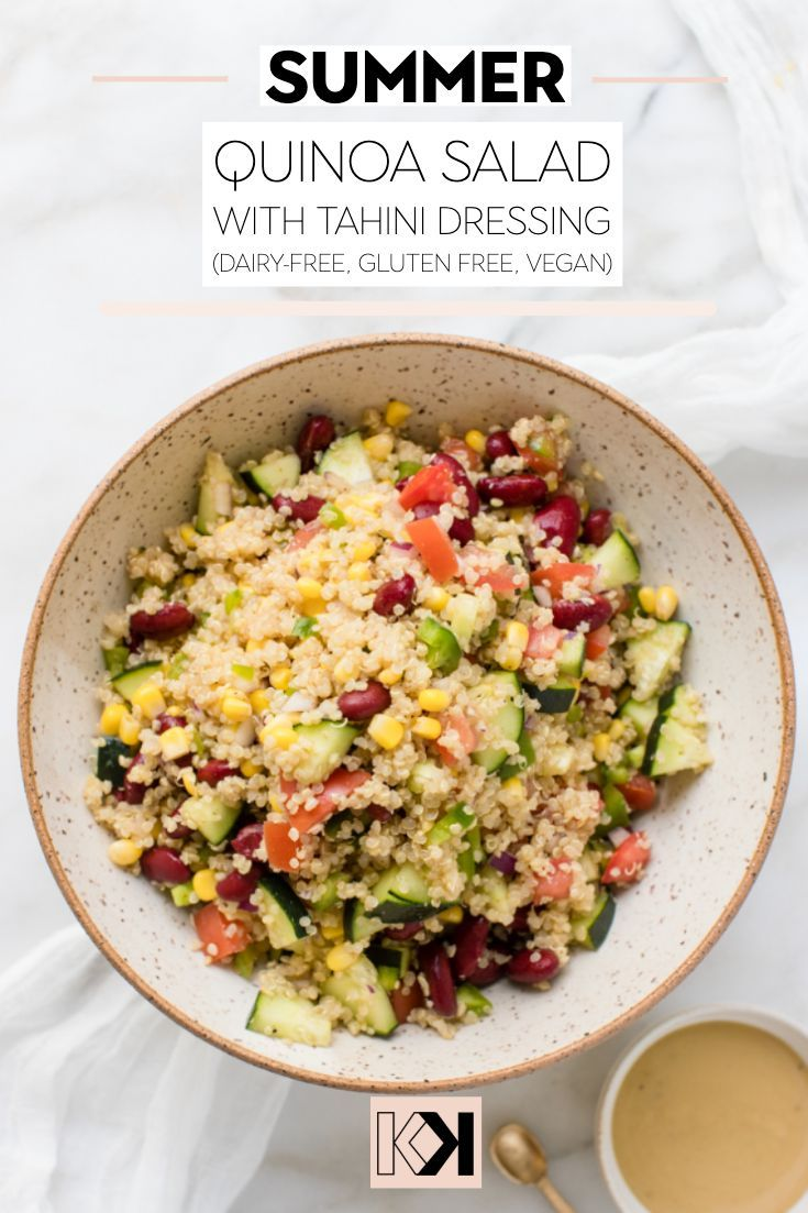 Vegan Quinoa Salad With Tahini Dressing Kroll S Korner Recipe Vegan Quinoa Salad Healthy Salad Recipes Vegetarian Recipes Healthy
