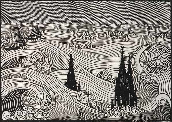René Quillivic, woodcut. Makes me think of The Gathering Dark .....